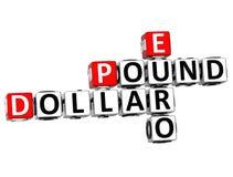 palavras cruzadas do Euro da libra do dólar 3D ilustração royalty free