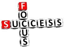 palavras cruzadas do foco do sucesso 3D Fotos de Stock Royalty Free