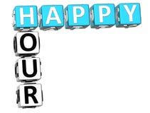 palavras cruzadas do happy hour 3D Imagens de Stock