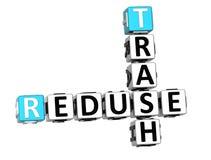 palavras cruzadas do lixo de 3D Reduse Fotografia de Stock