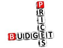 palavras cruzadas do orçamento dos preços 3D Fotografia de Stock