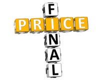 palavras cruzadas do preço 3D final Fotografia de Stock