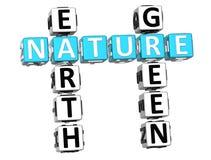 palavras cruzadas do verde da terra da natureza 3D Imagens de Stock