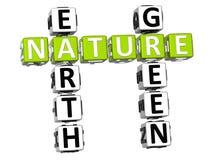 palavras cruzadas do verde da terra da natureza 3D Imagem de Stock