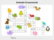 Palavras cruzadas dos animais - folha para a educação Foto de Stock Royalty Free