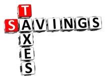 palavras cruzadas dos impostos das economias 3D Imagens de Stock