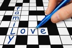 Palavras cruzadas - família e amor Fotografia de Stock