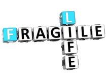 palavras cruzadas frágeis da vida 3D Fotos de Stock