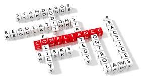 Palavras cruzadas que mostram palavras-chaves da conformidade como dados Imagem de Stock Royalty Free