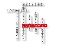 Palavras cruzadas que mostram palavras-chaves do cliente como a opinião lisa dos dados Fotos de Stock Royalty Free