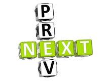 Palavras cruzadas seguintes de Prev Fotos de Stock