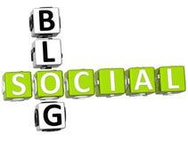 palavras cruzadas sociais do blogue 3D Imagens de Stock