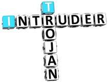palavras cruzadas Trojan do intruso 3D Imagem de Stock
