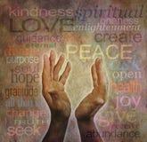 Palavras curas e mãos no pergaminho rústico Imagens de Stock Royalty Free