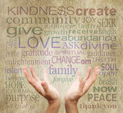 Palavras curas e mãos no pergaminho rústico Imagem de Stock