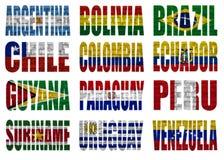 Palavras da bandeira de países de Ámérica do Sul Fotografia de Stock