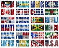 Palavras da bandeira de países de America do Norte Fotos de Stock