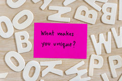 Palavras da letra da escrita na nota pegajosa cor-de-rosa Fotografia de Stock Royalty Free