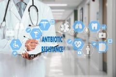 Palavras da RESISTÊNCIA do médico e do ANTIBIÓTICO na conexão de rede médica na tela virtual no fundo do hospital foto de stock