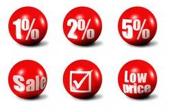 Palavras das vendas e ícones dos números Fotos de Stock Royalty Free