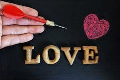 Palavras do amor com coração Fotografia de Stock Royalty Free