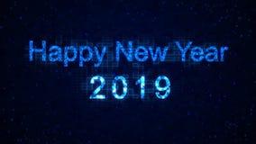 Palavras do ano novo feliz 2019 dos elementos gráficos em um fundo da tecnologia O feriado animou o fundo digital virtual video estoque
