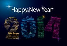 Palavras do ano novo feliz 2014 em muitas línguas imagem de stock royalty free