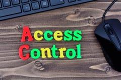 Palavras do controle de acesso na tabela Foto de Stock Royalty Free
