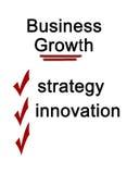 Palavras do crescimento do negócio no fundo branco fotografia de stock royalty free
