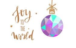 Palavras do Feliz Natal e do ano novo com a decoração da árvore de Natal ilustração stock