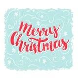 Palavras do Feliz Natal Texto da rotulação da escova no fundo azul do vintage Projeto de cartão do vetor Fotos de Stock Royalty Free
