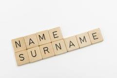 Palavras do nome e do sobrenome Fotos de Stock Royalty Free