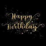 Palavras do ouro do cartão do feliz aniversario no fundo preto Imagem de Stock Royalty Free