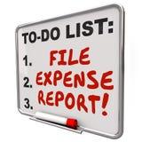 Palavras do relatório da despesa do arquivo para fazer a placa do lembrete da lista Foto de Stock