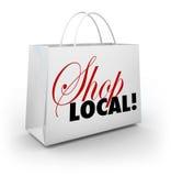 Palavras do saco de compras da comunidade do apoio local da loja Imagens de Stock