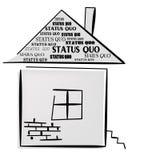Palavras do status quo na casa. Imagem de Stock