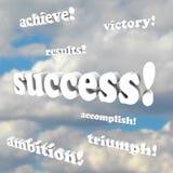 Palavras do sucesso - vitória, ambição ilustração royalty free