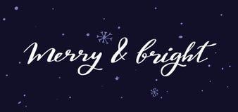 Palavras do vetor do Feliz Natal e do ano novo ilustração stock