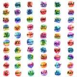 Palavras e expressões com fundo da aquarela Imagem de Stock Royalty Free