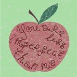 Palavras escritas à mão na forma da maçã ilustração royalty free