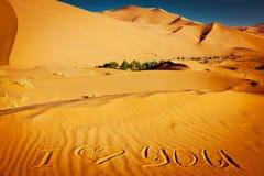 Palavras eu te amo escritas nas dunas de areia Fotografia de Stock Royalty Free