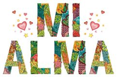 Palavras MI ALMA Minha alma no espanhol Objeto decorativo do zentangle do vetor Fotografia de Stock Royalty Free