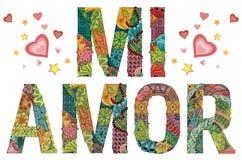 Palavras MI AMOR Meu coração no espanhol Objeto decorativo do zentangle do vetor Fotografia de Stock Royalty Free