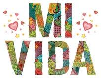 Palavras MI VIDA Minha vida no espanhol Objeto decorativo do zentangle do vetor Fotos de Stock