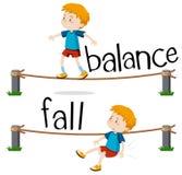 Palavras opostas para o equilíbrio e a queda ilustração royalty free
