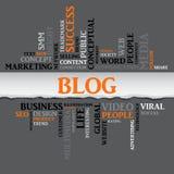 Palavras relacionadas do conceito do BLOGUE na nuvem da etiqueta Vetor ilustração stock