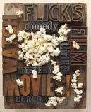 Palavras relativas aos filmes com pipoca Fotos de Stock
