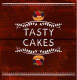 Palavras saborosos dos bolos com o queque tirado mão Vinhetas do VETOR no fundo de madeira Linhas brancas Fotografia de Stock