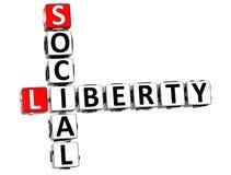 palavras sociais do cubo de 3D Liberty Life Crossword Fotografia de Stock