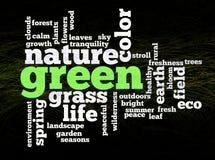 Palavras verdes do ambiente da natureza Imagens de Stock Royalty Free